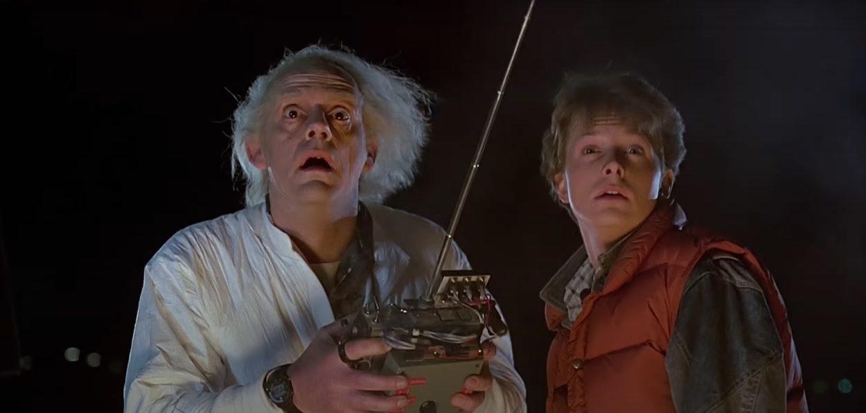 Christopher Lloyd und Michael J. Fox aus Zurück in die Zukunft
